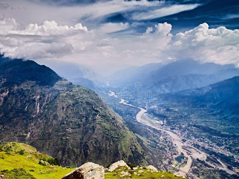 Aerial view of Kullu valley. Naggar, Himachal Pradesh. North India stock images