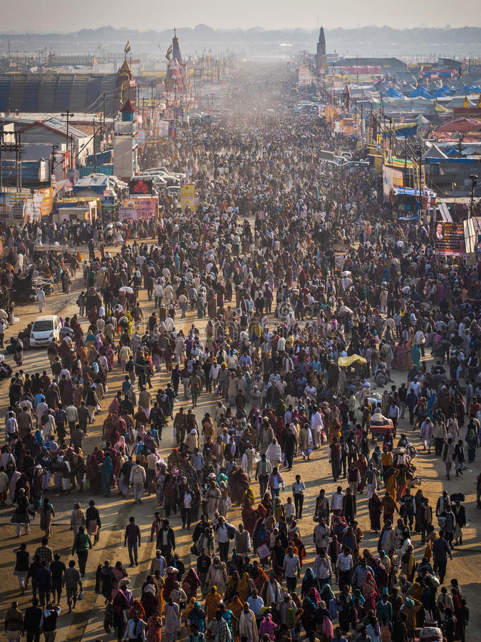 Aerial View of Kumbh Mela 2013 in Allahabad, India. Thousands of Hindu devotees gathering at the massive Kumbh Mela 2013 in Allahabad, India, the world's largest stock photos