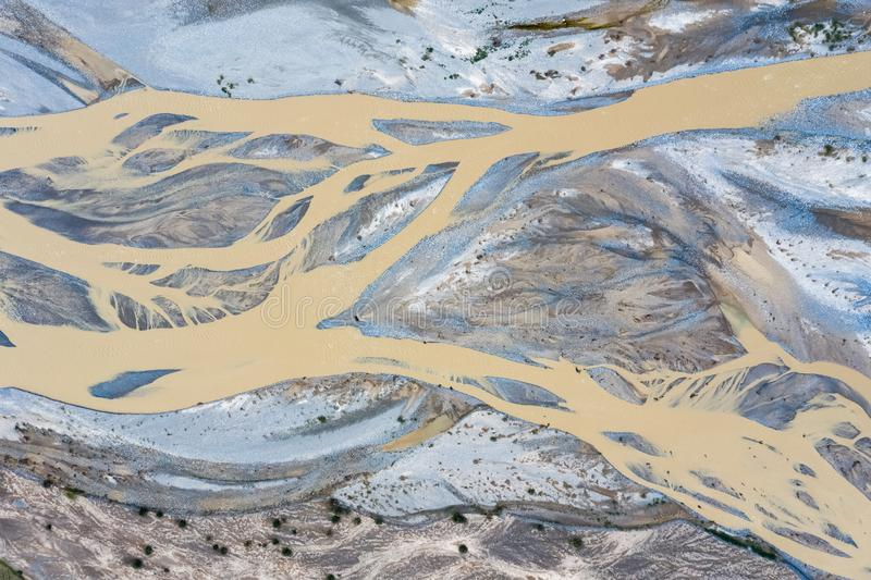 Aerial view of kunlun river royalty free stock photos