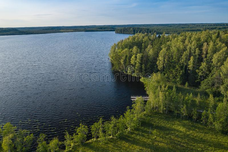 Aerial view of Kurjenrahka National Park. Turku. Finland. Nordic natural landscape. Scandinavian national park. Photo made by. Drone from above stock photography