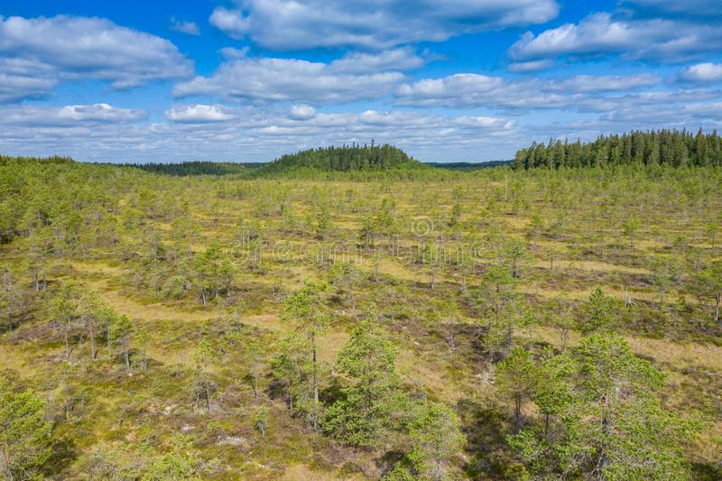 Aerial view of Kurjenrahka National Park. Turku. Finland. Nordic natural landscape. Scandinavian national park. Photo made by. Drone from above royalty free stock images