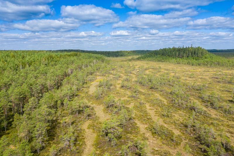 Aerial view of Kurjenrahka National Park. Turku. Finland. Nordic natural landscape. Scandinavian national park. Photo made by. Drone from above royalty free stock image
