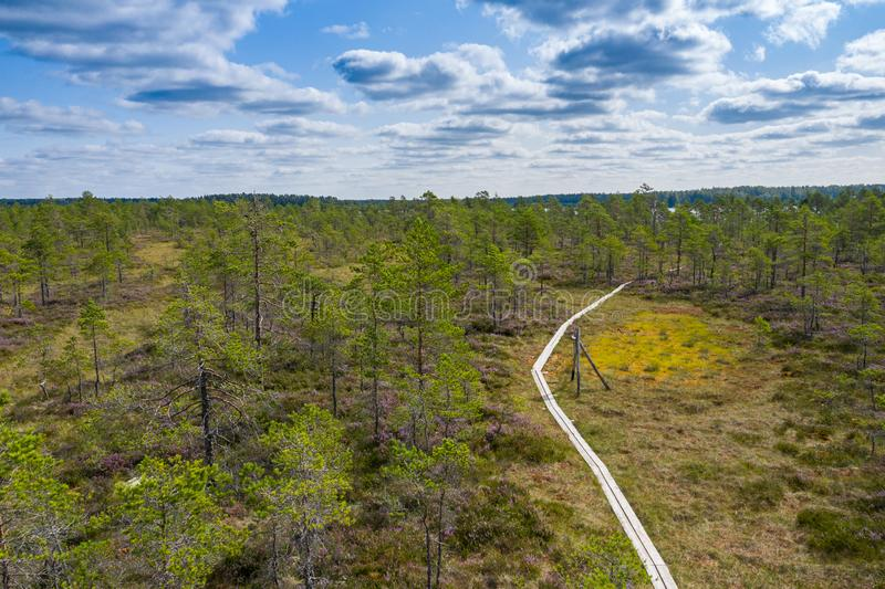 Aerial view of Kurjenrahka National Park. Turku. Finland. Nordic natural landscape. Scandinavian national park. Photo made by. Drone from above royalty free stock photography