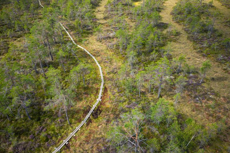 Aerial view of Kurjenrahka National Park. Turku. Finland. Nordic natural landscape. Scandinavian national park. Photo made by. Drone from above royalty free stock photos