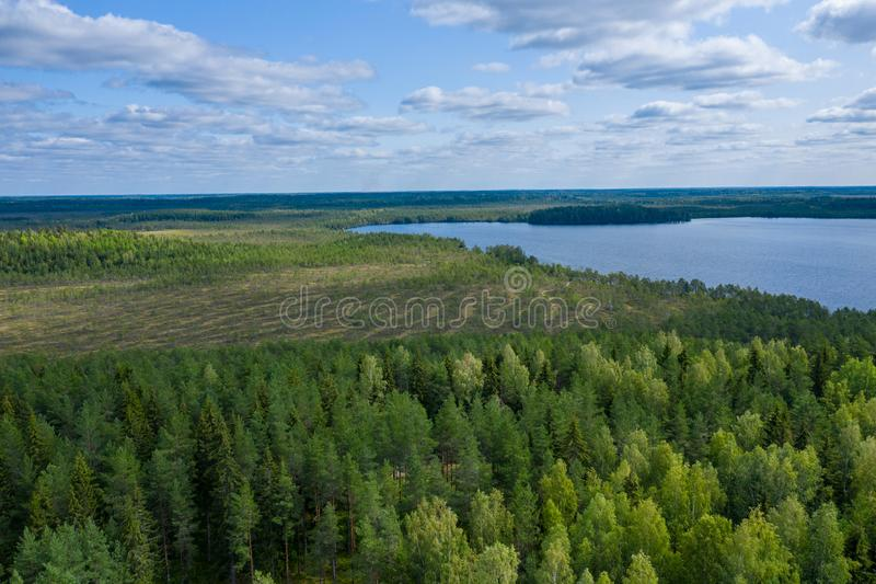 Aerial view of Kurjenrahka National Park. Turku. Finland. Nordic natural landscape. Scandinavian national park. Photo made by. Drone from above stock photos