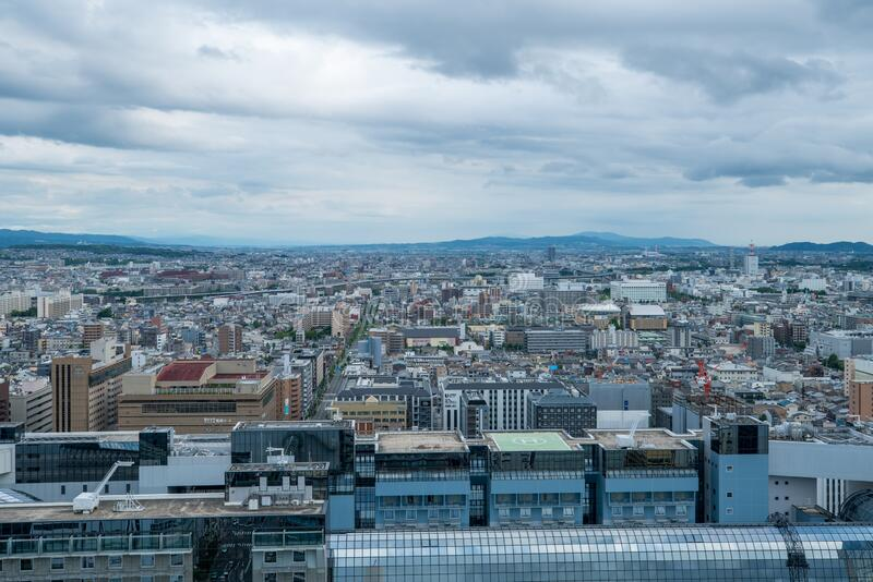 Aerial view of the Kyoto cityscapes during the twilight in a cloudy day, Japan.  royalty free stock photos