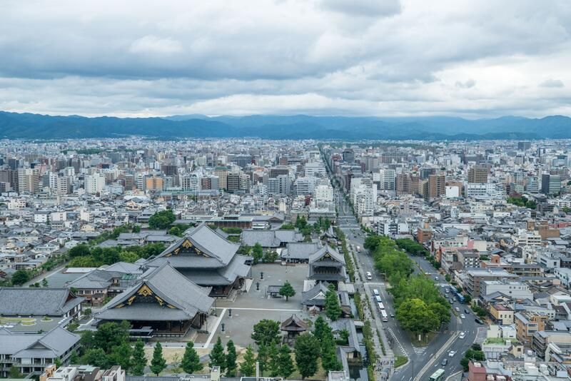 Aerial view of the Kyoto cityscapes during the twilight in a cloudy day, Japan.  stock image
