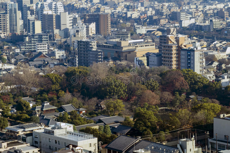 Aerial view of Kyoto Imperial Palace and Kyoto downtown cityscape. On Kyoto Tower, Japan stock photo