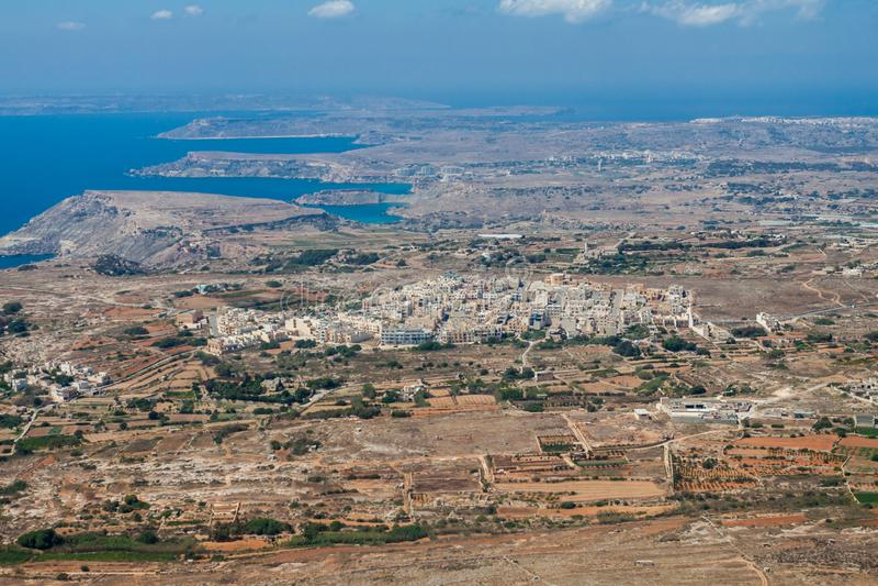 Aerial view of L-Imgarr Mgarr, Mġarr, Mgiarro town, Northern region, Malta island. Rich farmland and vineyards around. stock photos