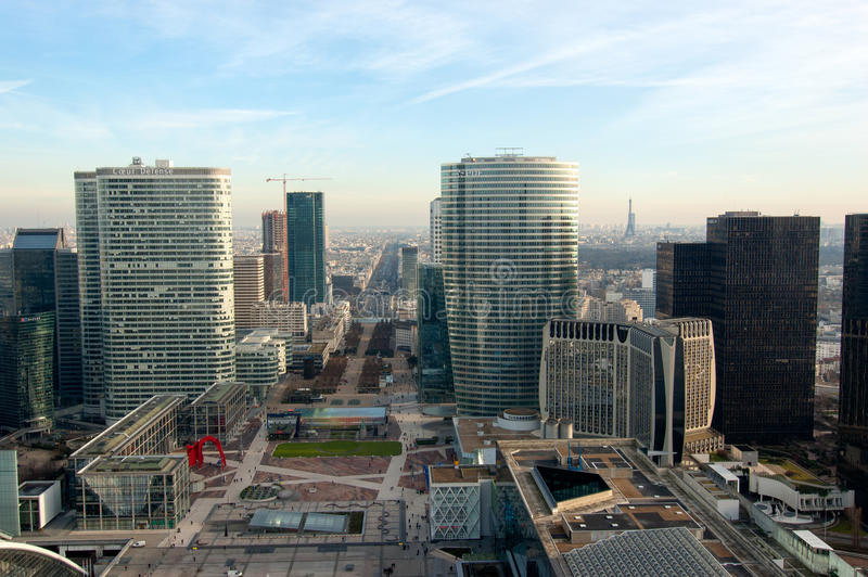 Aerial view of La Defense business district royalty free stock photography