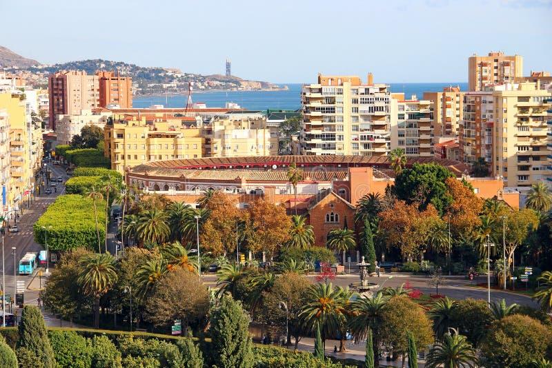 Aerial view of La Malagueta, Malaga, Spain. Aerial view of Malagueta district and bullring Plaza de Toros La Malagueta, Malaga, Andalusia, Spain stock photo