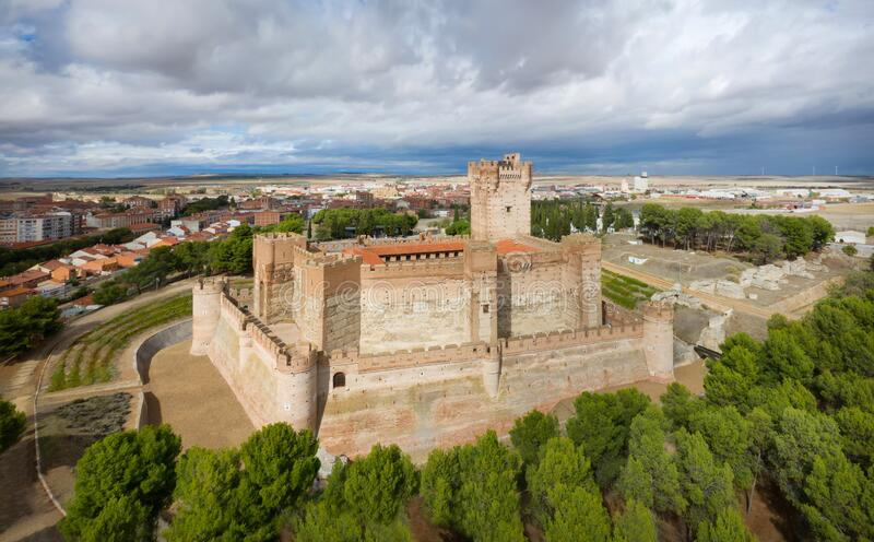 Aerial view of La Mota castle in Medina del Campo royalty free stock images