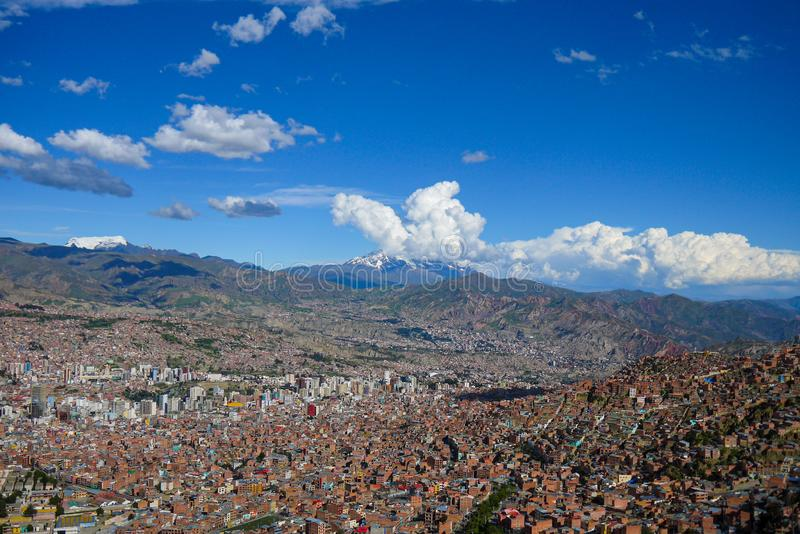 Aerial view of La Paz city in Bolivia stock photography