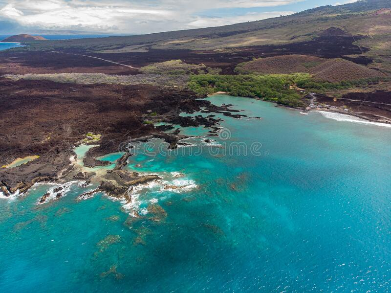 Aerial view of La Perouse Bay and Ahihi-Kinau Natural Area Reserve. South Maui, Hawaii stock photography