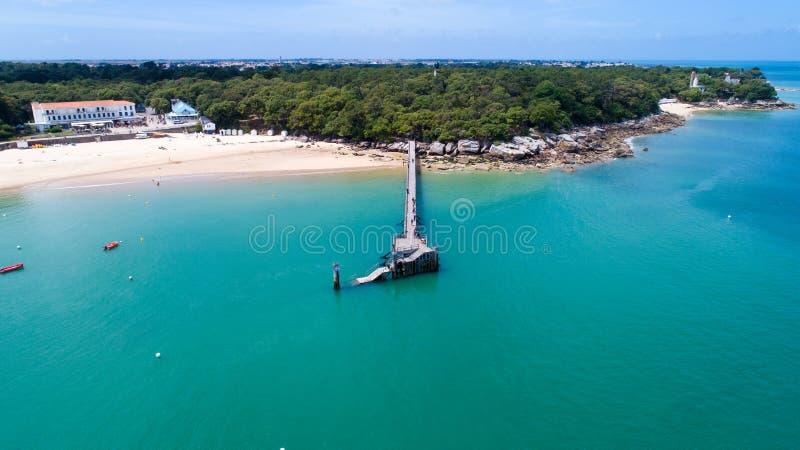 Aerial view of La plage des Dames wooden deck, Noirmoutier island. Aerial photography of La plage des Dames wooden pontoon, Noirmoutier island, Vendee stock photo