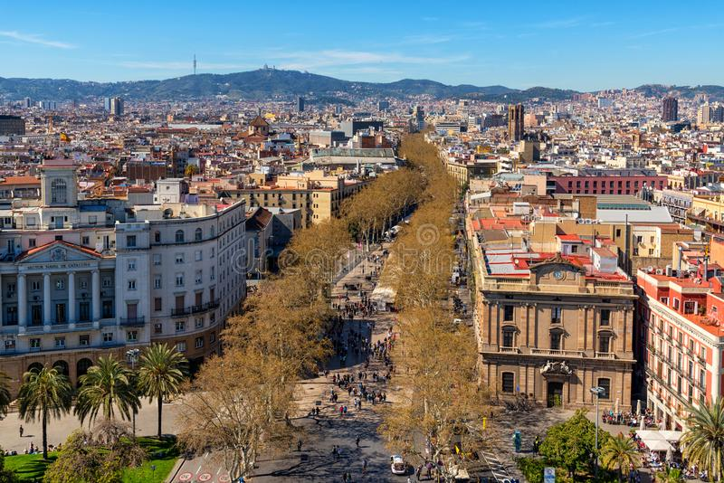 Aerial view of La Rambla street in Barcelona, Catalonia, Spain royalty free stock images