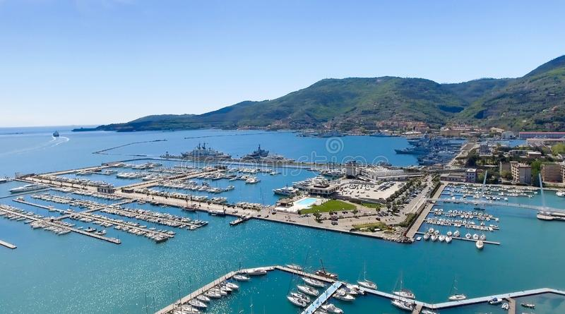 Aerial view of La Spezia, Italy stock image