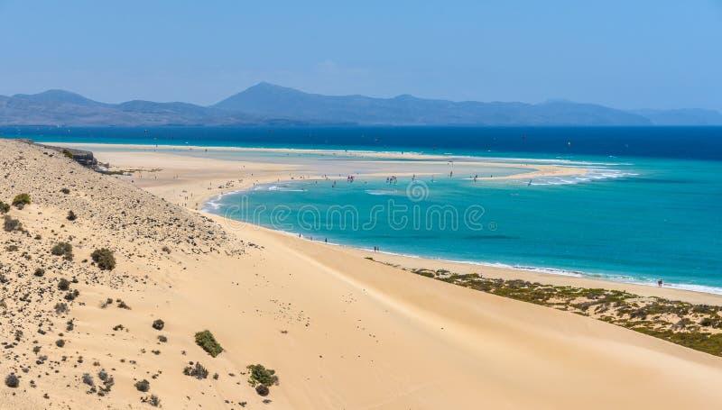 Aerial view of the lagoon on Sotavento Beach in Fuerteventura, S stock photos
