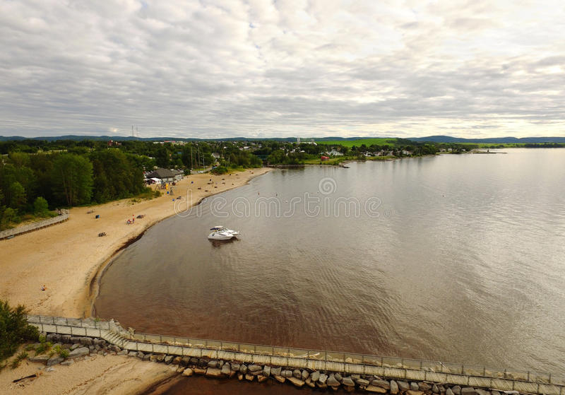 Aerial view of a lake beach stock photography