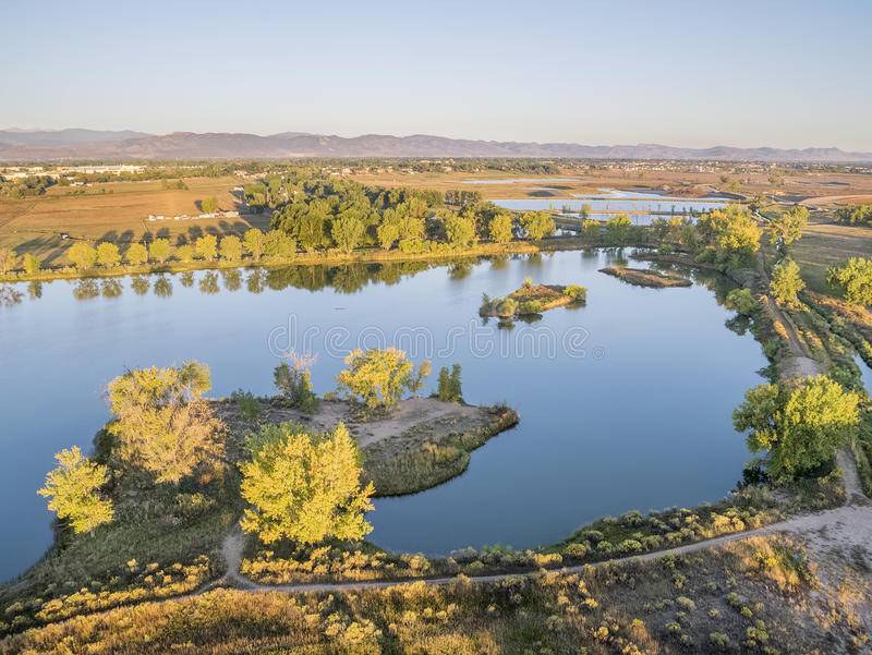 Aerial view of lake in Colorado stock photography
