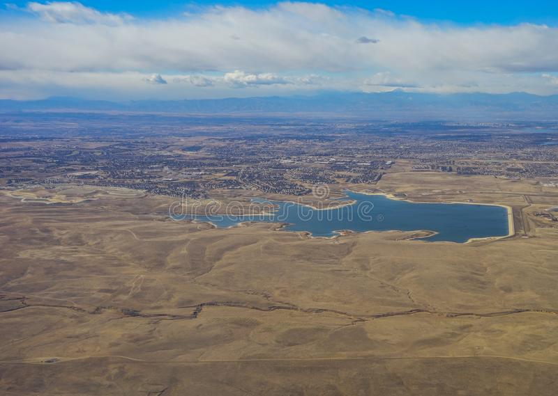 Aerial view of a lake royalty free stock photo