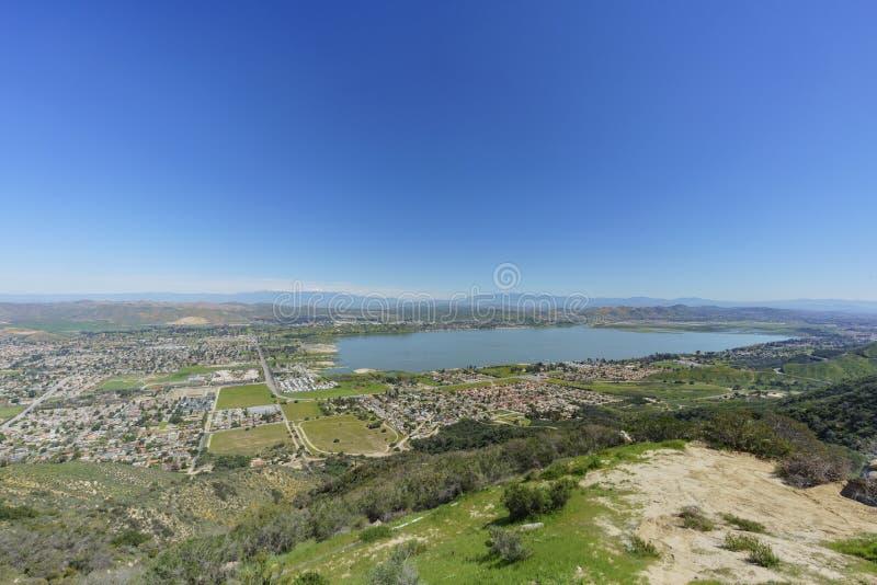 Aerial view of Lake Elsinore stock photo