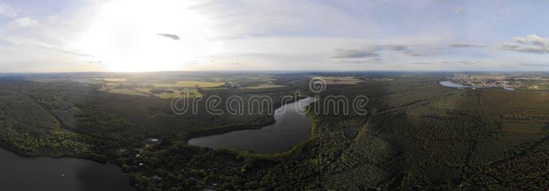 Aerial view of lake Fängersee near Strausberg Brandenburg. Surrounding villages are Hirschfelde, Altlandsberg and Petershagen-Eg. Aerial view of lake Fä royalty free stock images