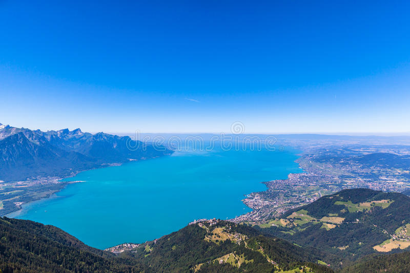 Aerial view of Lake Geneva from Rochers-de-Naye. Aerial view of Lake Geneva and Montreux city from the view platform on Rochers-de-Naye, on a sunny summer day in stock image