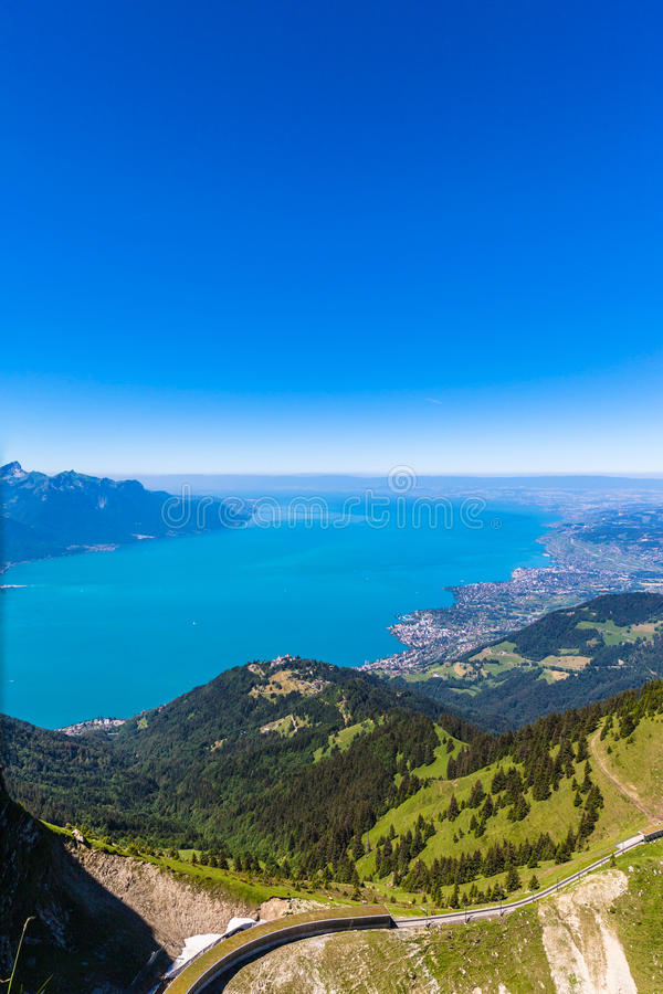 Aerial view of Lake Geneva from Rochers-de-Naye. Aerial view of Lake Geneva and Montreux city from the view platform on Rochers-de-Naye, on a sunny summer day in stock photos