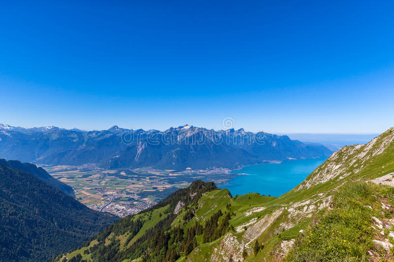 Aerial view of Lake Geneva from Rochers-de-Naye. Aerial view of Lake Geneva and Montreux city from the view platform on Rochers-de-Naye, on a sunny summer day in royalty free stock image