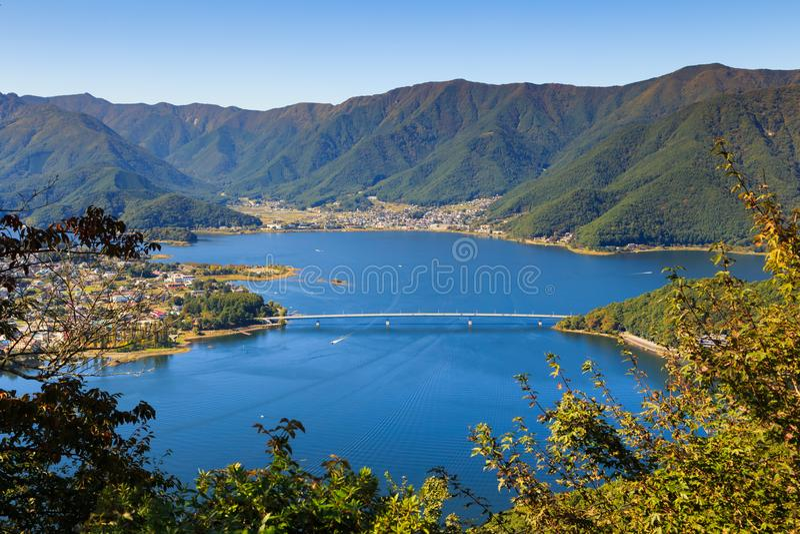 Lake kawaguchi and town viewed from Kawaguchiko Tenjoyama Park Mt. Kachi Kachi Ropeway, Kawaguchigo, Japan. royalty free stock photo