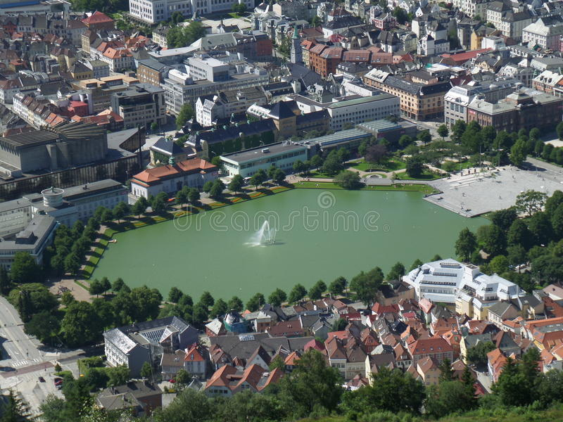 Aerial view of lake Lille Lungegardsvannet in the city center& x27;s public park of Bergen, Norway. Aerial view of lake Lille Lungegardsvannet in the city center royalty free stock images