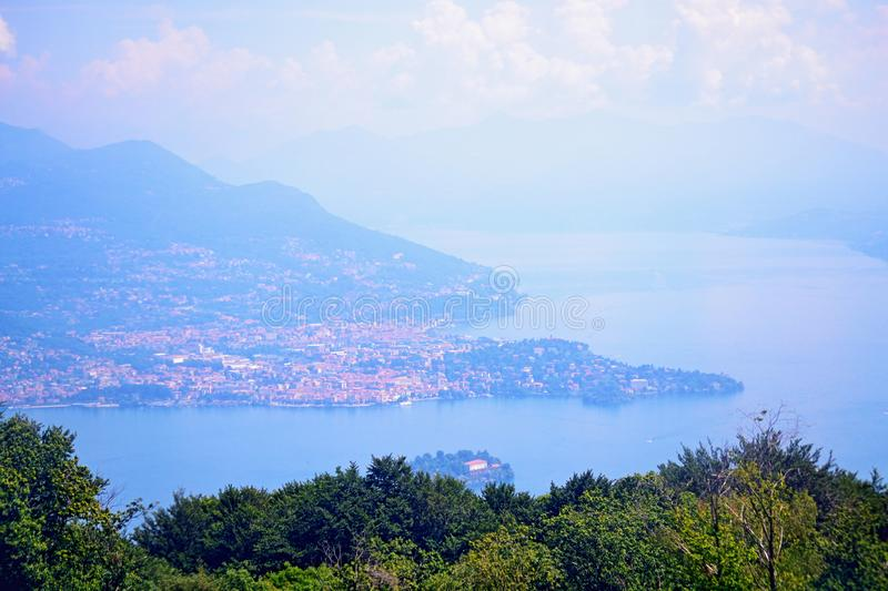 Aerial view of Lake Maggiore Italy royalty free stock photo