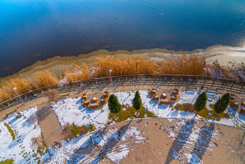 Aerial view of Lake Mogan with walkway in winter, Ankara, Turkey royalty free stock photography