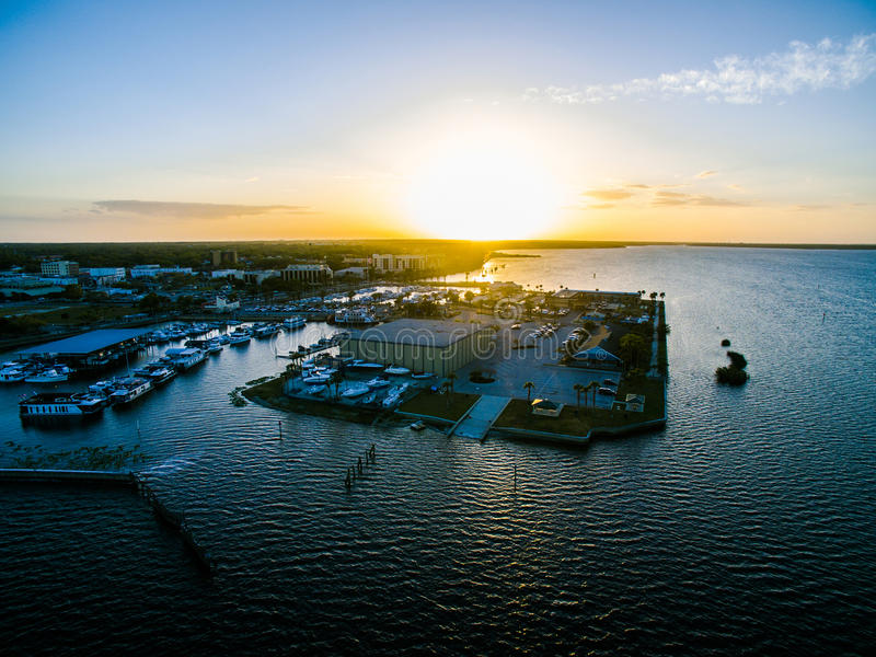Aerial view of Lake Monroe in Sanford Florida stock photography