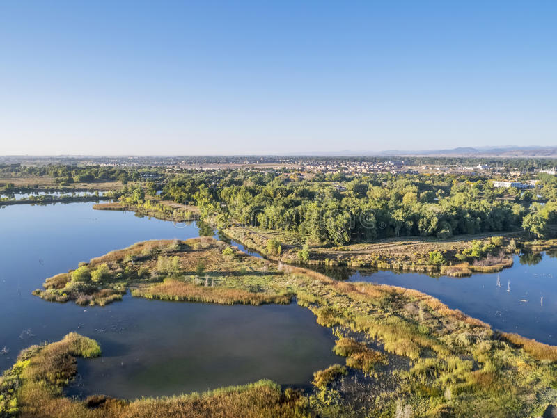 Aerial view of lake natural area royalty free stock photo