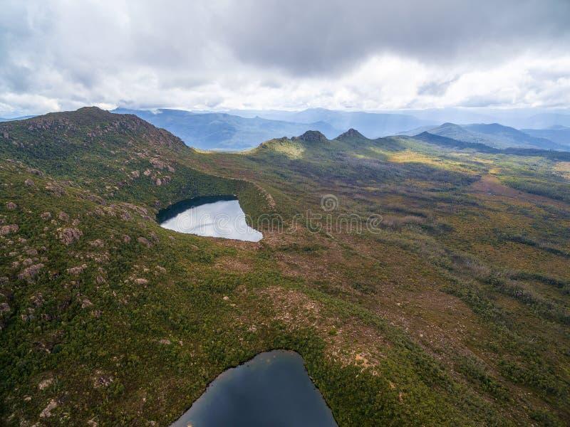 Aerial view of Lake Osborne and Lake Perry in Hartz Mountains Na. Tional Park. Tasmania, Australia royalty free stock photo