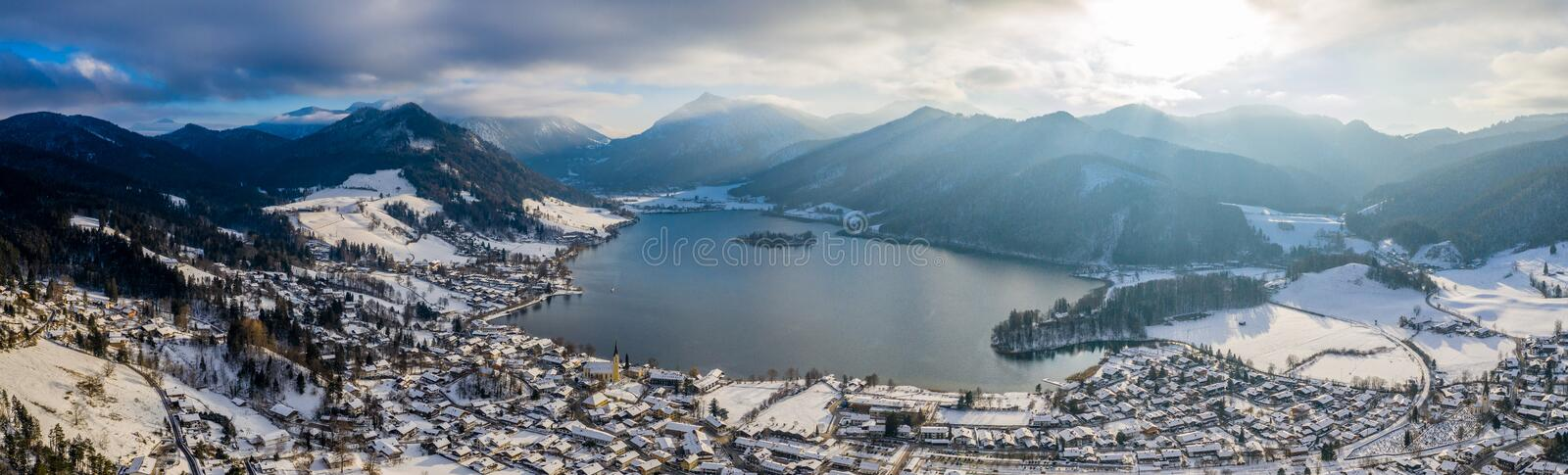 Aerial View Lake Schliersee Winter, Germany stock photo