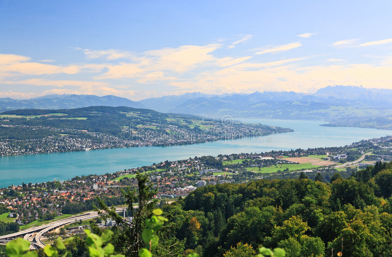 The aerial view of Lake Zurich stock photography