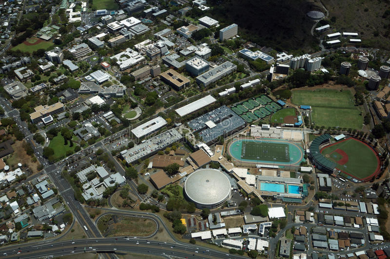 Aerial view of Landmark University of Hawaii Baseball Les Murakami Stadium and Stan Sheriff Center in Manoa with H-1 Highway and stock photo