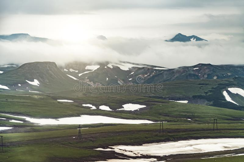 Aerial view of landscape with green plains on Kamchatka peninsula, Russia stock image