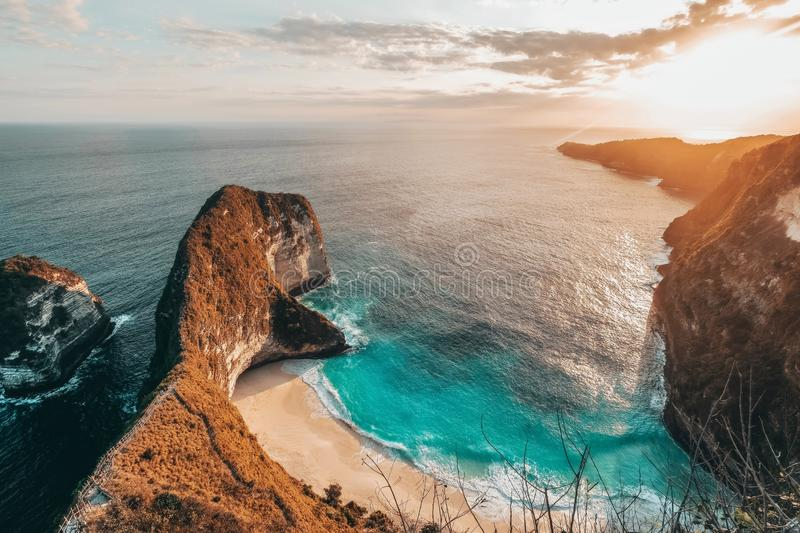 Aerial view of landscape with Kelingking beach, Nusa Penida island Bali ,Indonesia stock photos