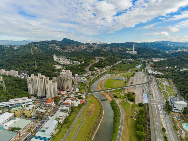 Aerial view of the landscape, metro line near Muzha station. At Taipei stock photos