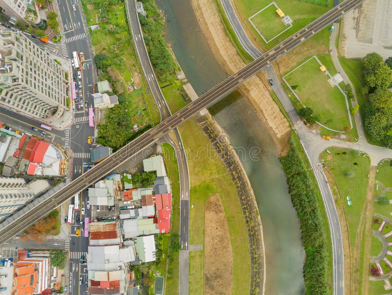 Aerial view of the landscape, metro line near Muzha station. At Taipei stock images