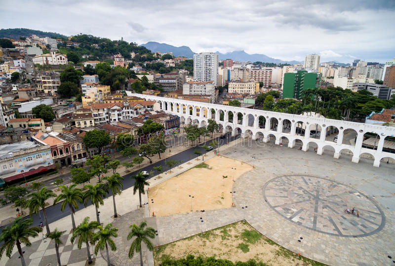 Aerial view of the Lapa Arches in Rio de Janeiro, Brazil royalty free stock photos