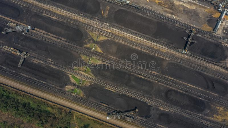 Aerial view large bucket wheel excavators in a lignite mine royalty free stock photos