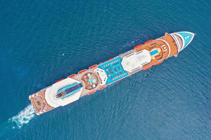 Aerial view of large cruise ship liner with colorful deck stock image