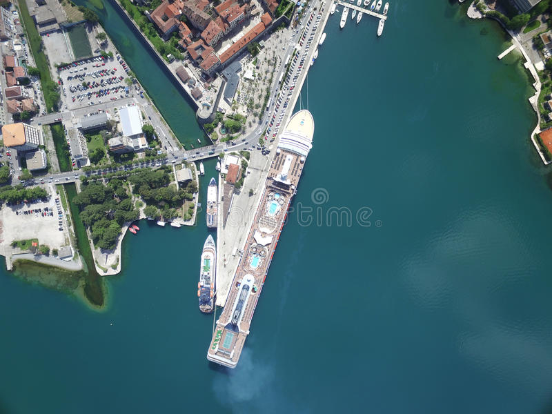 Aerial view of large cruise ship near the pier royalty free stock photos