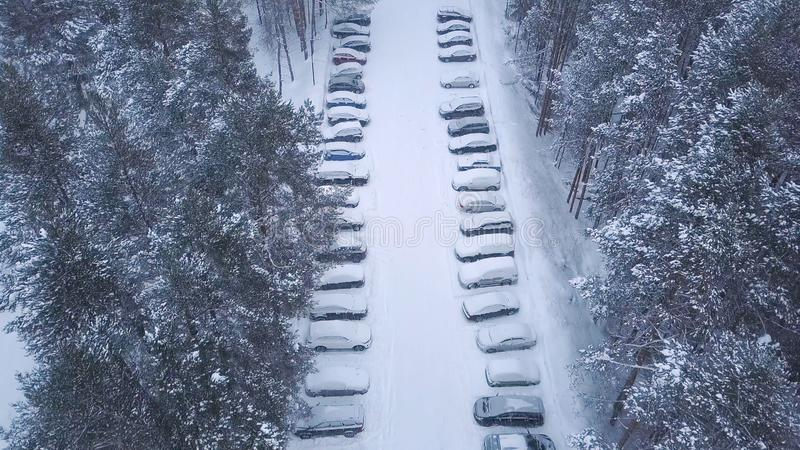 Aerial view of large parking and cars near the trees covered by snow in winter park in evening. Clip. View from above. Aerial view of large parking and cars near stock photos