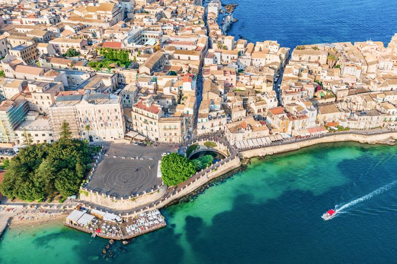Aerial view of the Large square and source Arethusa in Ortigia, Syracuse Sicily royalty free stock photography